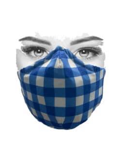 Mondkapje wit met donkerblauwe ruit