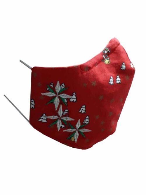 Kerstmondkapje zijkant rood met kerst sterren zilver