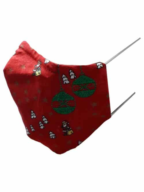 Kerstmondkapje zijkant rood met groene kerstballen