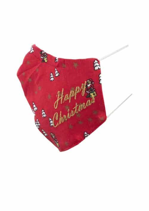 Kerstmondkapje zijkant rood Happy Christmas goud