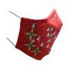 Kerstmondkapje zijkant rood met kerst sterren goud