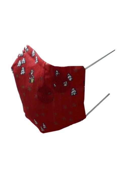 Kerstmondkapje zijkant rood met rode kerstballen