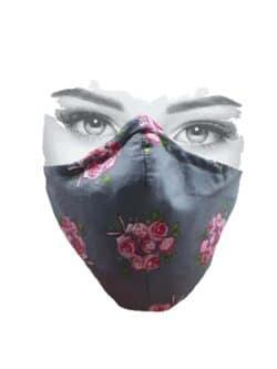 Mondkapje grijs met roze roosjes