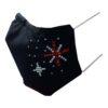 Kerstmondkapje zijkant zwart met sterren