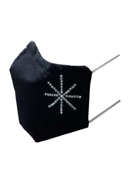 Kerstmondkapje zijkant zwart met ster