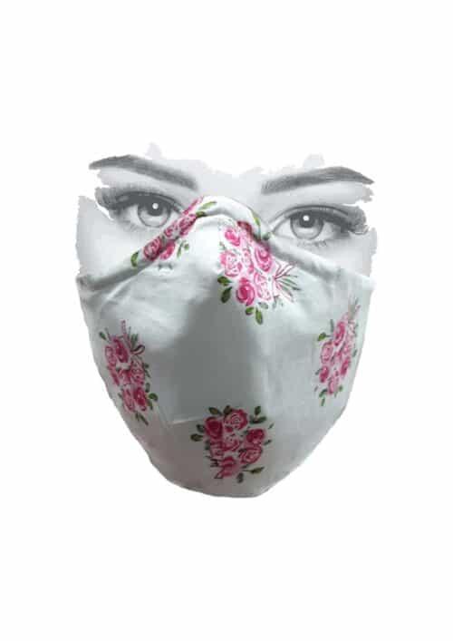 Mondkapje wit met roze roosjes