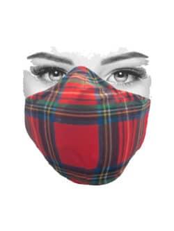 Mondkapje rood met Schotse ruit
