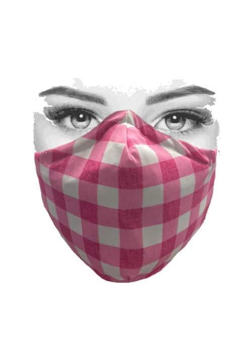 Mondkapje wit met roze ruit