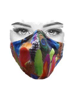 Mondkapje multicolor met veren